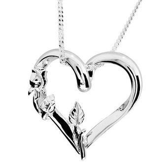Silver Heart and Rose pendant - BEE-34956