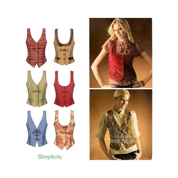 Womens Vest Pattern Simplicity 4079 Easy To Sew Lined
