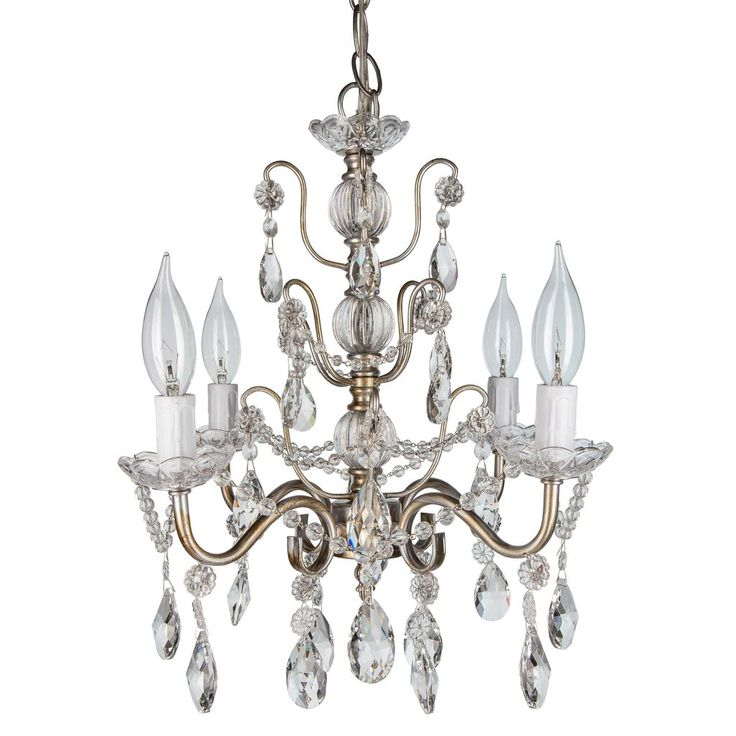 4 light shabby chic crystal plug in chandelier silver
