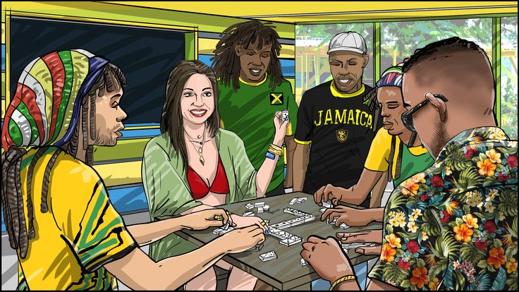 Don Omar and Sharlene Taule playing dominoes with the locals in a Jamaican local bar. Don Omar music video storyboards. Cuong Huynh storyboard artist.