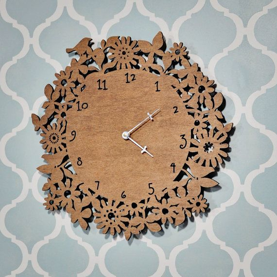 Wood Floral Wall Clock by sayhelloshop on Etsy, $45.00