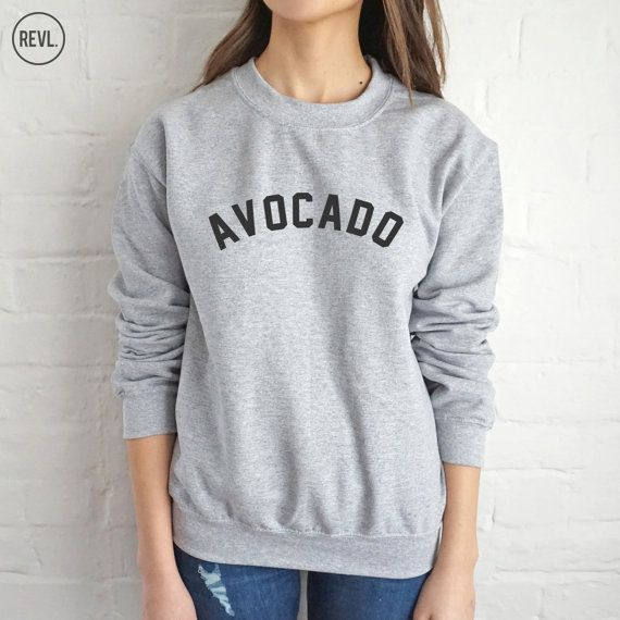Avocado Sweatshirt Sweater Jumper Top Fashion Slogan Food Vegan Vegetarian