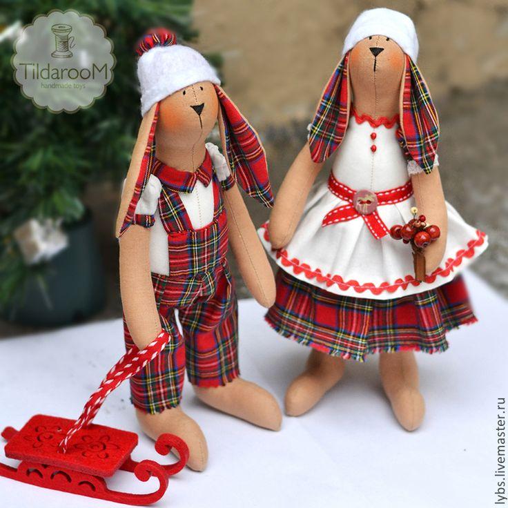 Купить Новогодние Зайчики Тильда - ярко-красный, тильда, кукла Тильда, заяц, Новый Год