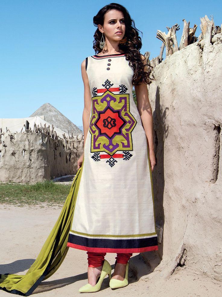 Off White Raw Silk Printed Salwar Suit
