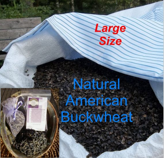 """Lavender Buckwheat Hull Pillow - w/Two cups of Lavender - American (Large)  Size 19"""" X 24"""""""