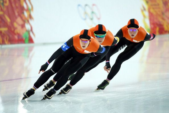 Jorien ter Mors, Lotte van Beek and Ireen Wust of the Netherlands compete during the Women's Team Pursuit Quarterfinals Speed Skating event (c) Getty Images
