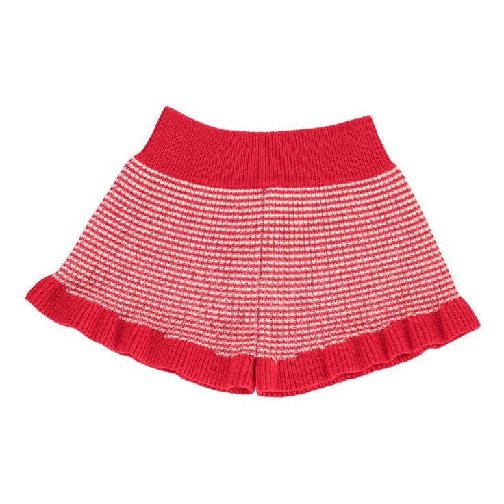 Morley Frizzy Ruffle Striped Shorts Red