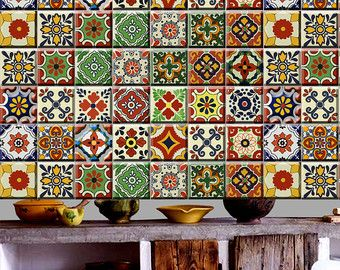 Southwestern Folk Tile/ Wall Decal for Kitchen Bathroom Backsplash Tile/Wall/Stair Riser/ Cabinets/ Fridge/Ceiling Decal : Pack of 48