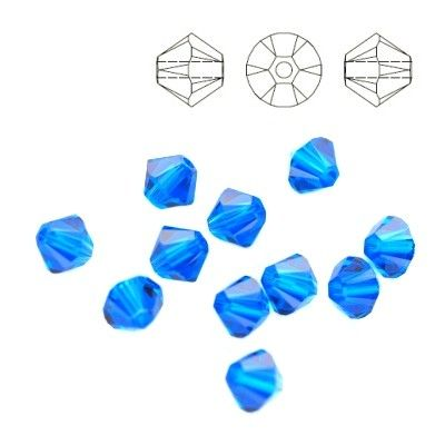 5328 Bicone 4mm Capri Blue 10 pieces  Dimensions: 4,0mm Colour: Capri Blue 1 package = 10 pieces