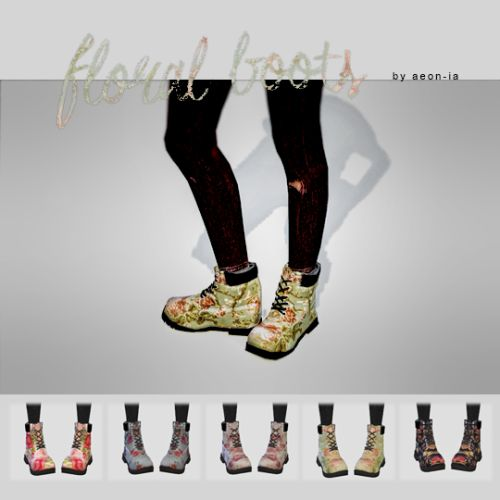 aeon-ia: FLORAL BOOTS. 5 different floral prints. Mesh is by Madlen