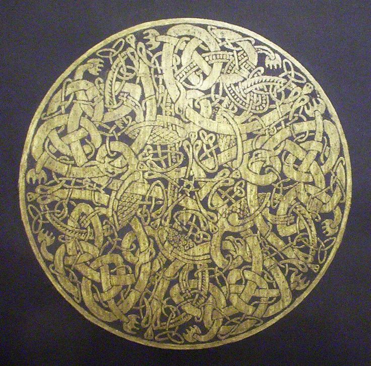 A Brass Rubbing taken from a medieval design from the Book of Kells.