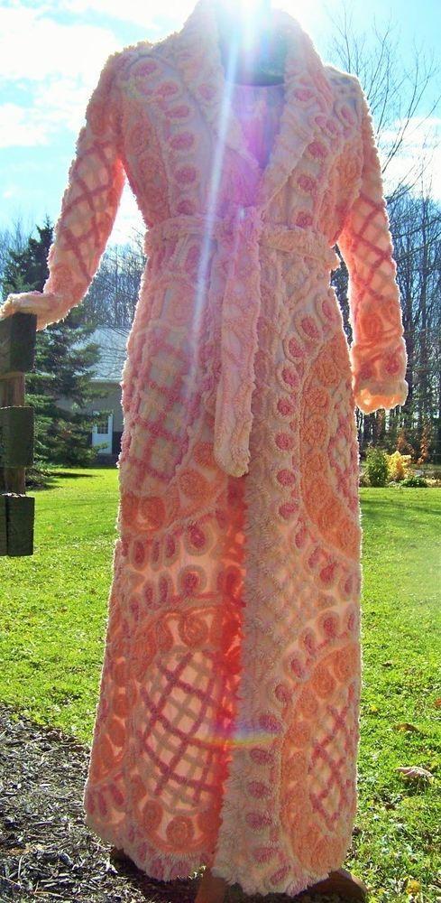RADIANT Morning Sunrise Handmade Chenille Bedspread Robe Vtg Women's Bathrobe #Handmade #Robes