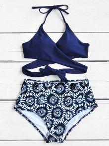 Calico Print Wrap Ensemble de bikini à taille haute