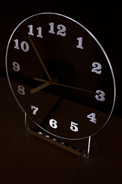 Clock with white backlight LED. Clocks are designed and manufactured by our company. Modern design.