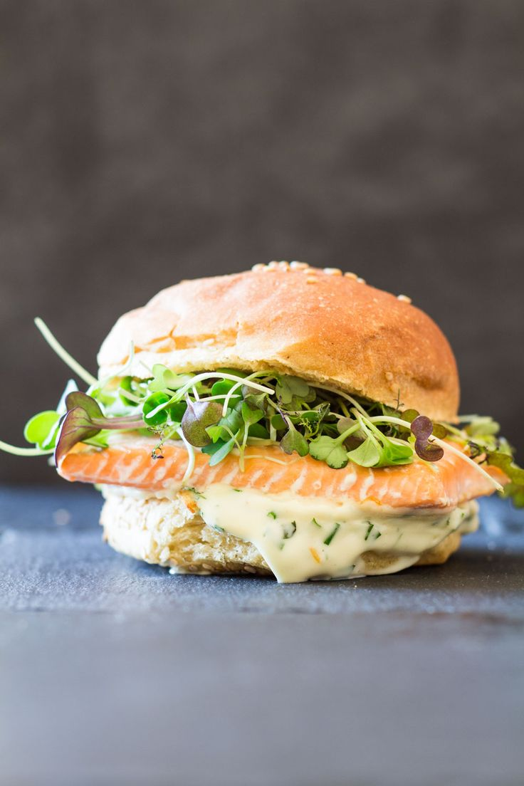 A 20-minute prep healthy fish burger that will knock you off your feet: Salmon Burger With Garlic Herb Mayonnaise topped with spicy micro-greens!