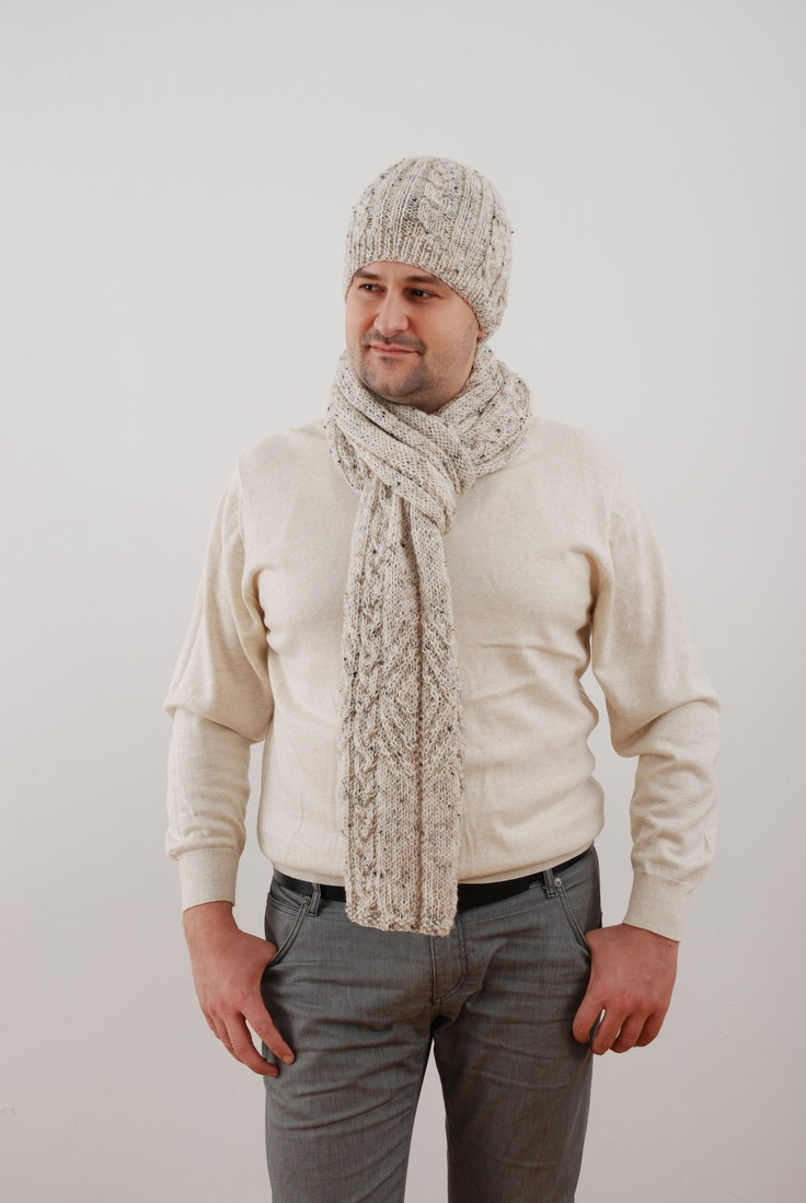 Multicolour mens beige extra long scarf and hat winter set - great Christmas present. $90.00, via Etsy.