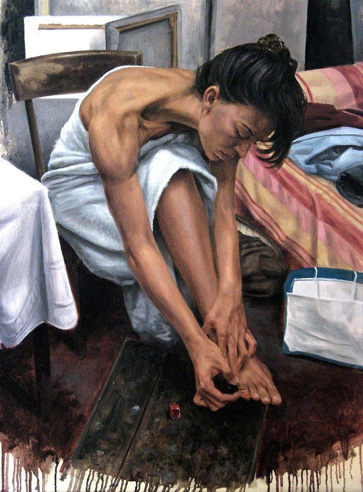 Matteo Nannini, Behind the scenes III, olio su tela, 80X60, 2014
