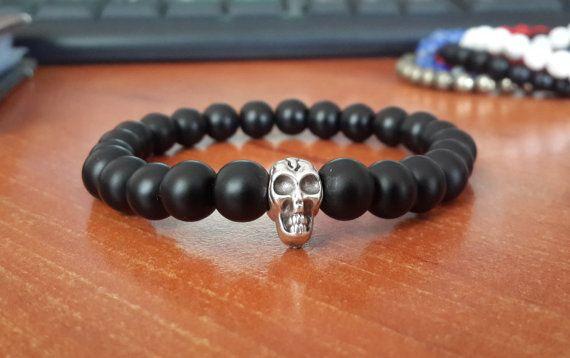 Men's Skull Bracelet Mens Skull Jewelry Gemstone by Braceletshomme