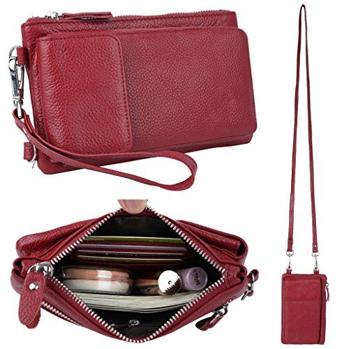 YALUXE Women's RFID Blocking Leather Wristlet Crossbody Wallet with Pocket for iPhone 7 Plus Red - Identity Theft is on the Rise...Everyone knows someone who has been a victim of identity theft, who has gone through the seemingly endless nightmare of battling credit agencies, banks and credit card companies to reverse fraudulent transactions and restore one's good credit.Unfortunately accordin...
