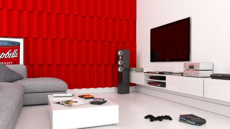 Aranżacja salonu, sali kinowej, pokoju wypoczynkowego, ściany telewizyjnej z wykorzystaniem miękkich paneli ściennych 3D (kolekcja SWING - Fluffo, Fabryka Miękkich Ścian)