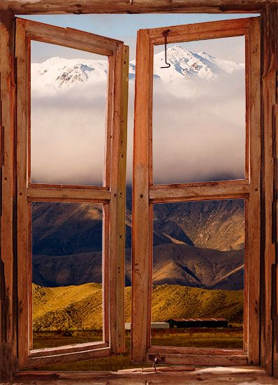 WIM122 - Window Frame scene of the cloud summit in the mountains, landscape scene. peel and stick decal