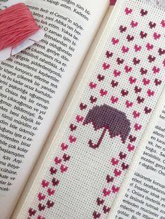 Rain of Hearts Handmade Cross Stitch Bookmark by TheCrossCosmos