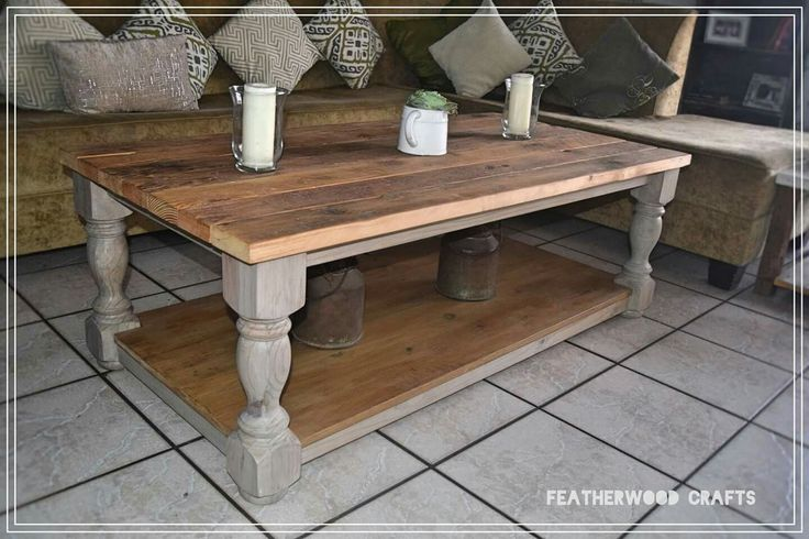 Aged wood coffee table with old solid oregon top