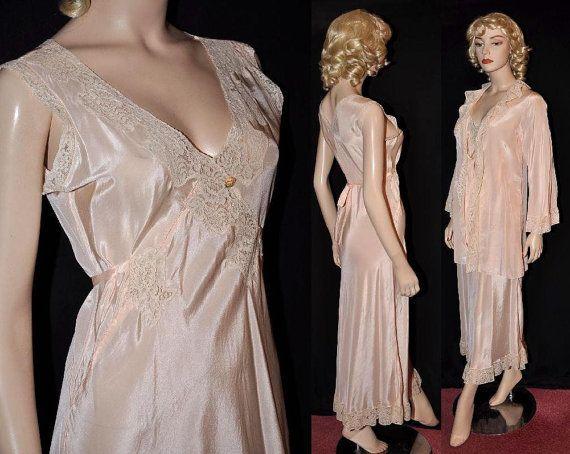 Early 1930s 'Arnold Constable' Silk Peignoir Robe & Nightgown Set
