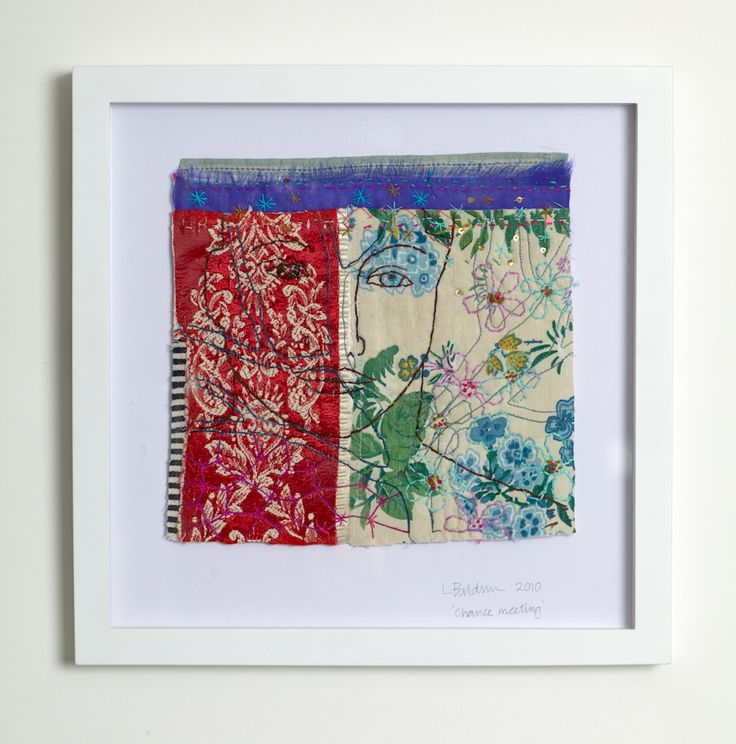 Louise Baldwin's recent pieces now incorporate found imagery colour and domestic packaging alongside fabric and simple stitch to produce rich small scale textiles that explore some of the complexities of contemporary life. Chance Meeting