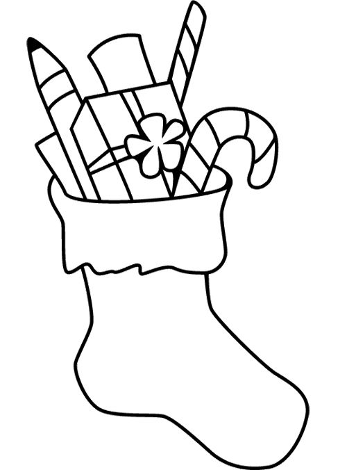 Christmas Stocking Coloring Page (With images) | Christmas ...