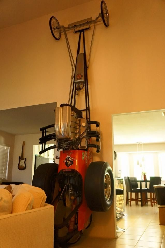 Vintage dragster in the living room.