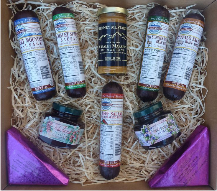 The Old Faithful Gift Box. A perfect gift for your faithful friends and family members.  A samplers off all of our summer sausages plus sharp cheddar cheese and Chalet Honey Mustard.  Made in Montana.