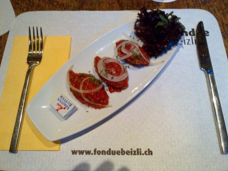 Beef tatar with butter and toast @ Restaurant Fonduebeizli