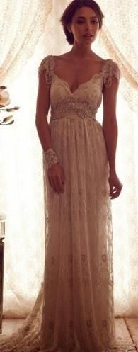 Vintage Lace Wedding Gown with Crystal Beaded Embellishment
