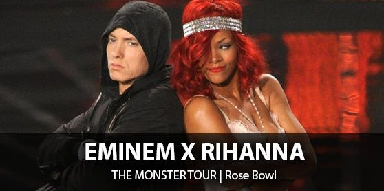 The Monster Tour featuring Eminem and Rihanna Tickets for their Pasadena, ROSE BOWL concerts are available with No Service Fees on any tickets. All Monster Tour Tickets come with our 100% guarantee to be authentic and delivered to you on time. The Los Angeles Monster Tour Concert will be a variable of who's who with the possibility of big names joining on stage for this concert so no matter if your budget is upper level tickets of VIP Tickets down in front Barry's Tickets can get you in!