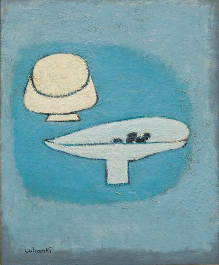 (Korea) Sacrifice Bowl by Whanki Kim 1913-1974. Oil on canvas. 김환기