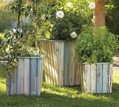 pots from reclaimed wood: Distressed Wood, Reclaimed Wood, Barrels Planters, Gardens Planters, Flower Pots, Wood Planters, Planters Boxes, Recycle Wood, Pottery Barns