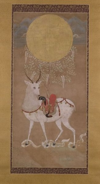 Hanging Scroll: Kasuga Deer Mandala  Muromachi period (AD 1333-1568)  Japan  Paper, fibre, silk, ink, gold thread   h. 90 cm  UEA 1188
