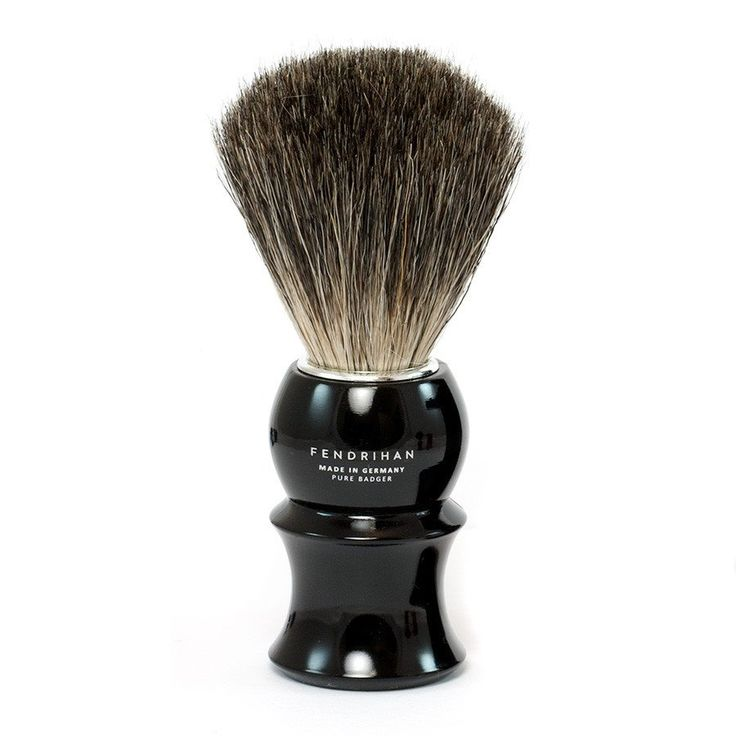 A solid and dependable tool, the Fendrihan Pure Badger Shaving Brush, Black Handle is an elegant lathering companion, the glossy jet black handle featuring our
