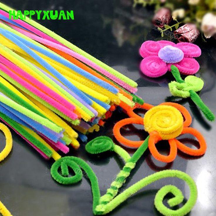 2 팩 (200 개) 멀티 셔닐는 파이프 청소기 수제 diy 예술 및 공예 재료 아이 창의력 수공예품 장난감