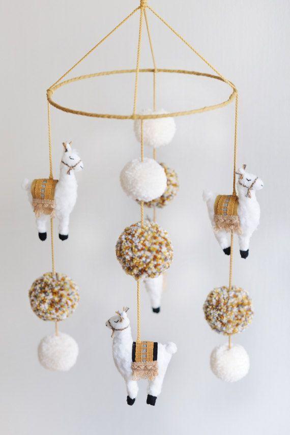 Handmade 'Llama Nursery Mobile' Llama Mobile by LittleFoxQuiltShop