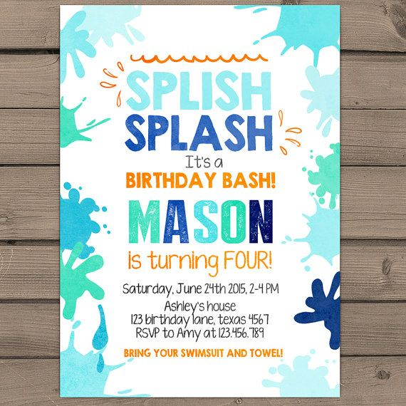 Splish Splash Birthday Invitation Pool Party by Anietillustration