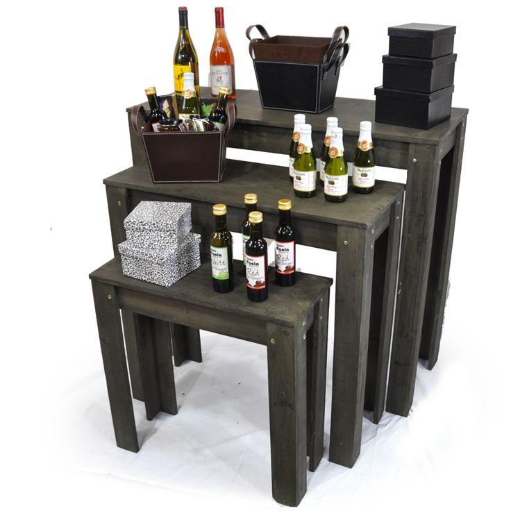 Classic nesting retail display tables set of three