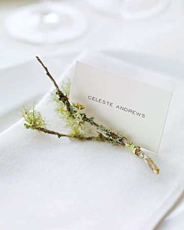 Tiny branch at each place setting for guests to attach their escort card with clothespin