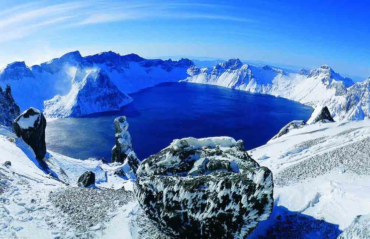 Heavenly Lake, crater lake on Mountain Changbai, is located in both North Korea and PR China (Jilin province) and was created by a major eruption in 10th century.