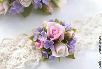 """Брошь """"розы и сирень"""" - цветы из полимерной глины,сирень,розовый,сиреневый"""