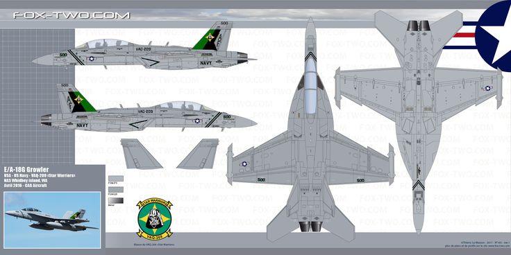 Plans et couleurs d'un E/A-18G de l'US Navy Reserve. Cet appareil appartient au VAQ-209 Star Warrior. Cet appareil spécialement décoré est celui du commandant de l'unité (CAG). Il porte le numéro 166895 et le code AF-500. Cette unité est stationnée sur la base de NAS Whidbey Island, WA