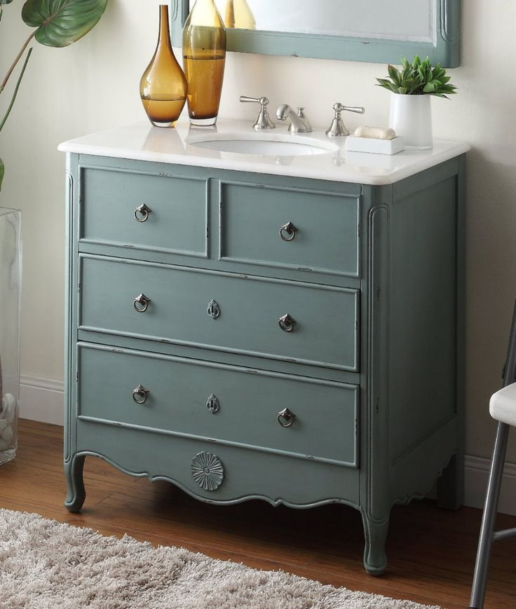 Images Of Cottage look Daleville Bathroom Sink Vanity Model Vantage mint blue Chans Furniture