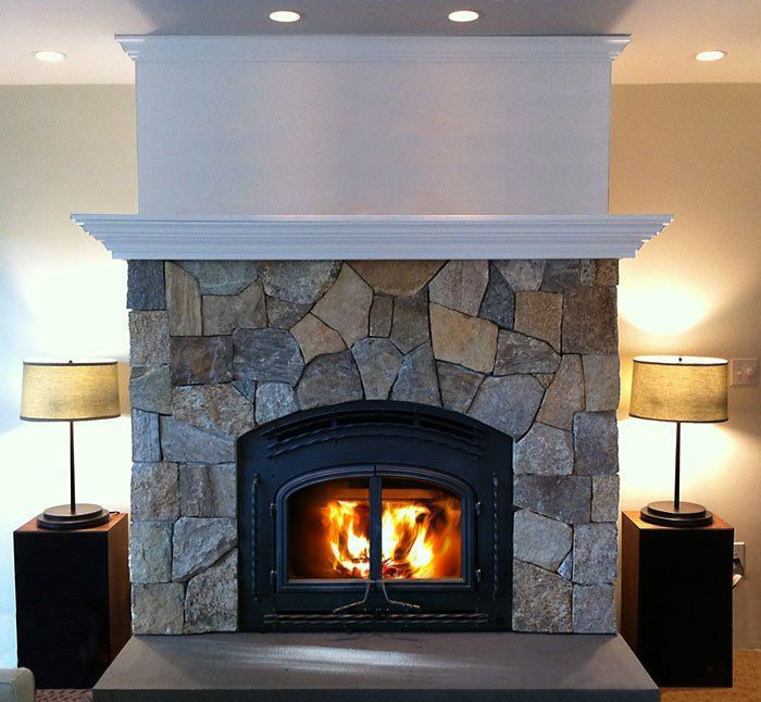 Stone fireplace 2 down lights mantle molding in white for Faux marble fireplace mantels