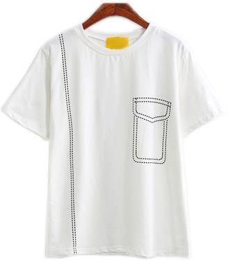 White Short Sleeve Print T-Shirt - Shop for women's T-shirt - White T-shirt